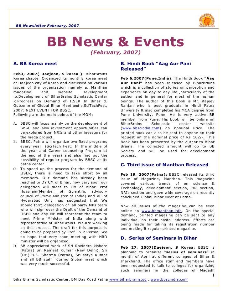 BB Newsletter February, 2007                      BB News & Events                                         (February, 2007...