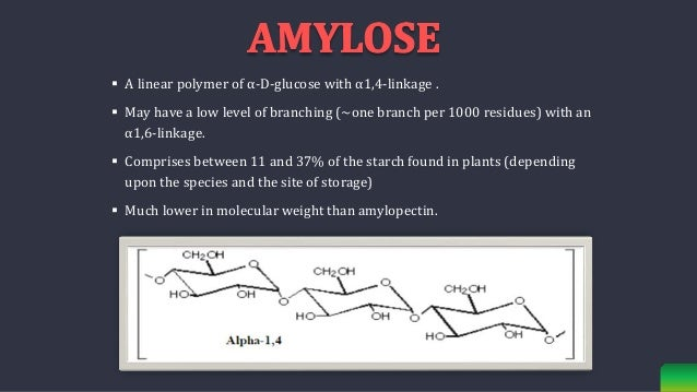  A linear polymer of α-D-glucose with α1,4-linkage .  May have a low level of branching (~one branch per 1000 residues) ...