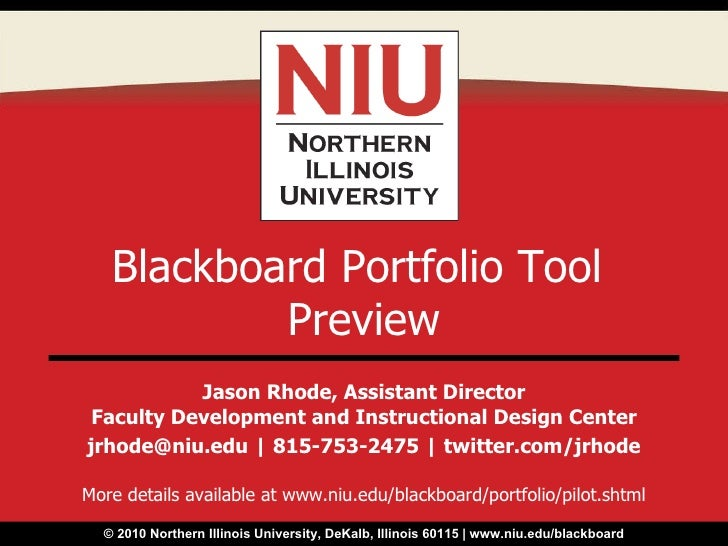 Jason Rhode, Assistant Director Faculty Development and Instructional Design Center jrhode@niu.edu | 815-753-2475 | twitte...