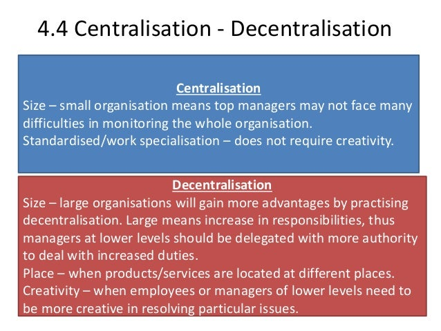 essay on centralisation and decentralisation Open document below is an essay on decentralization from anti essays, your source for research papers, essays, and term paper examples.