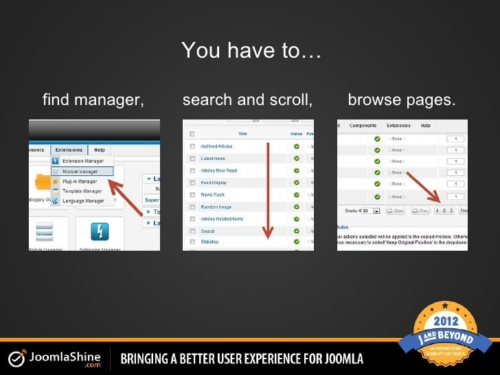 You have to…find manager,   search and scroll,   browse pages.