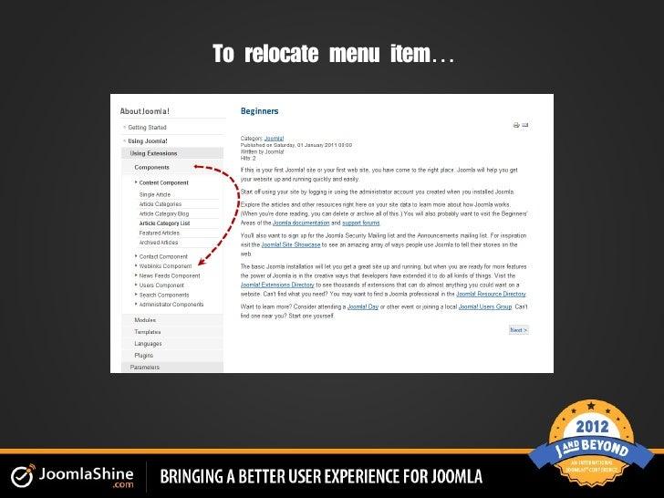 To relocate menu item…