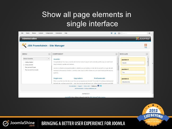 Show all page elements in      single interface
