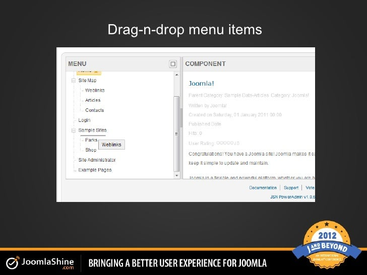 Drag-n-drop menu items