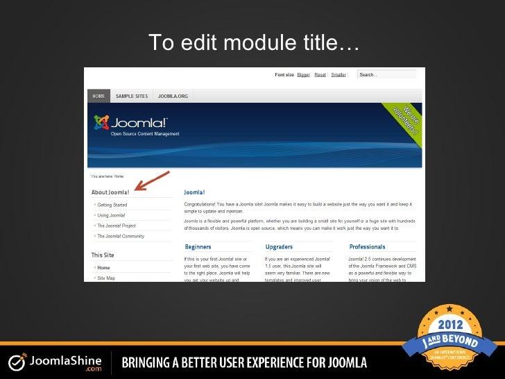 To edit module title…