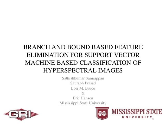 BRANCH AND BOUND BASED FEATURE ELIMINATION FOR SUPPORT VECTOR MACHINE BASED CLASSIFICATION OF HYPERSPECTRAL IMAGES Sathish...