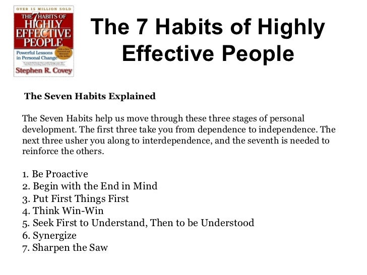 7 habits of highly effective people by dr. Stephen r. Covey ppt.