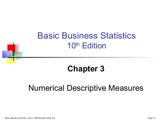 chapter 3 basic business statistics pearson Statistics, data analysis, and decision modeling  indian statistical institute, kolkata pearson  chapter 3 probability concepts and distributions 89.