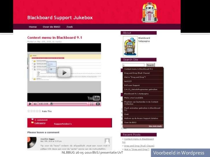 NLBBUG 26-05-2010 BbSJ presentatie UvT<br />Voorbeeld in Blackboard<br />