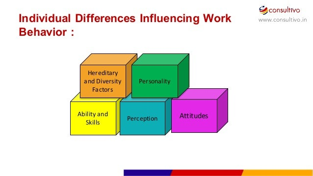 factors which influence individual behaviour at work The influence of diversity factors on individual behavior there are numerous influences that affect individual and group behavior in the workplace.