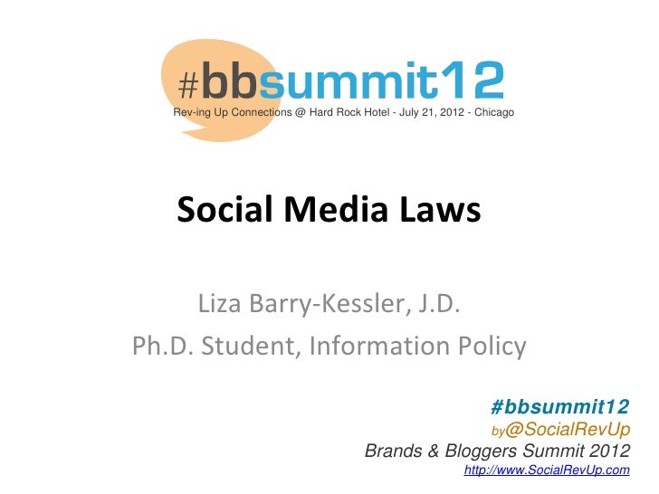 Rev-ing Up Connections @ Hard Rock Hotel - July 21, 2012 - Chicago   Social Media Laws     Liza Barry-Kessler, J.D.Ph.D. S...