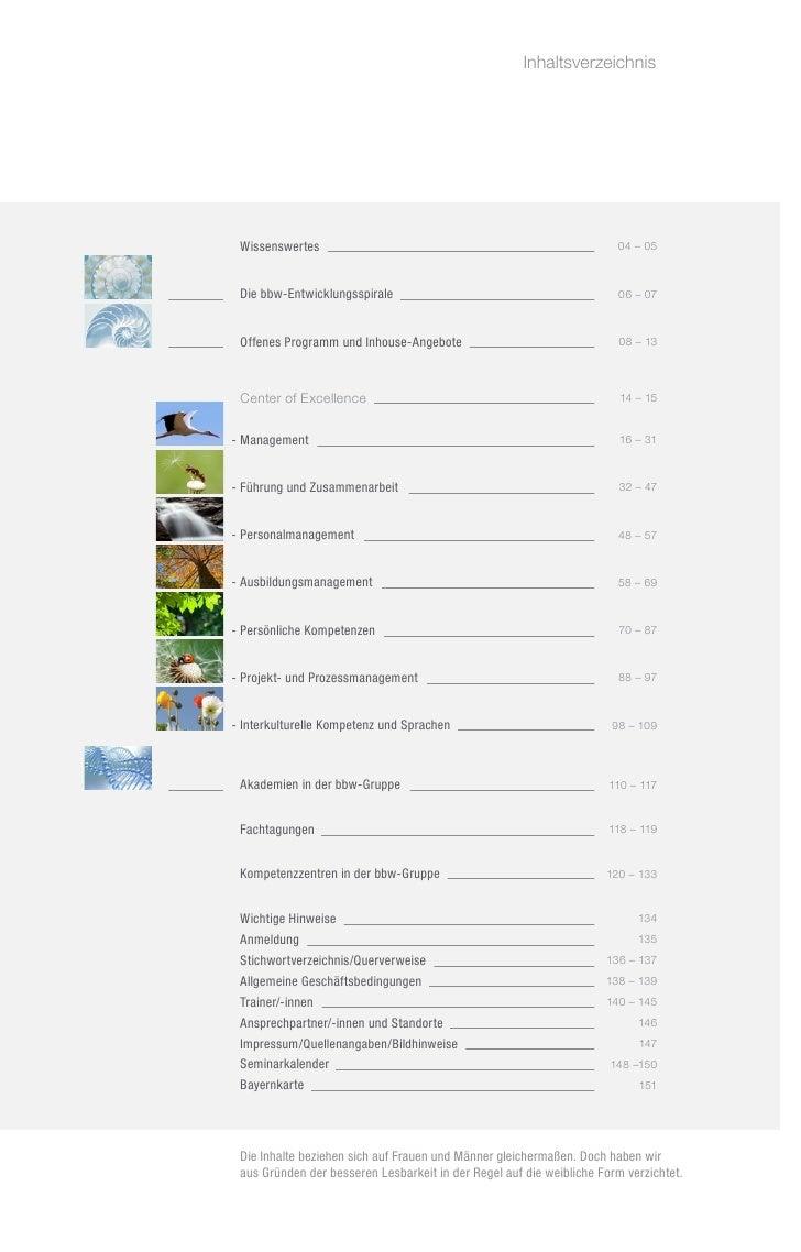Inhaltsverzeichnis             Wissenswertes                                                         04 – 05 Die bbw-Entw...