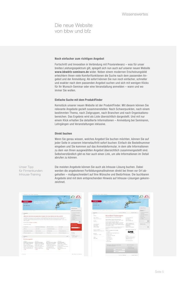 Wissenswertes                                                   Die neue Website                    von bbw und bfz     ...