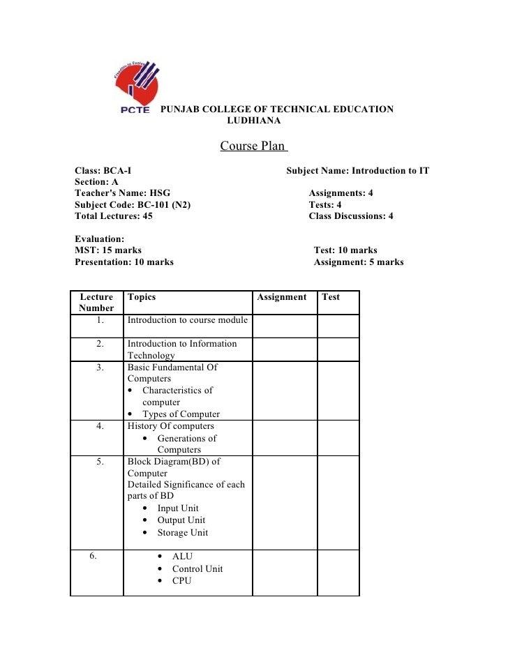 PUNJAB COLLEGE OF TECHNICAL EDUCATION                               LUDHIANA                                     Course Pl...