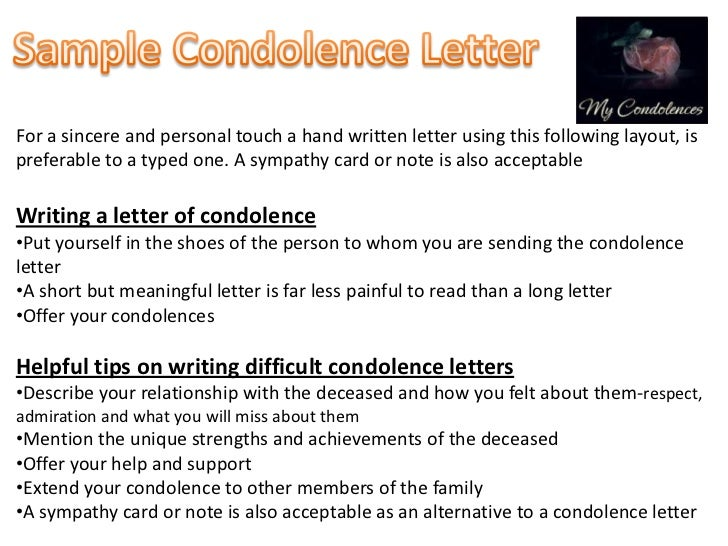 SlideShare  Condolence Sample Note