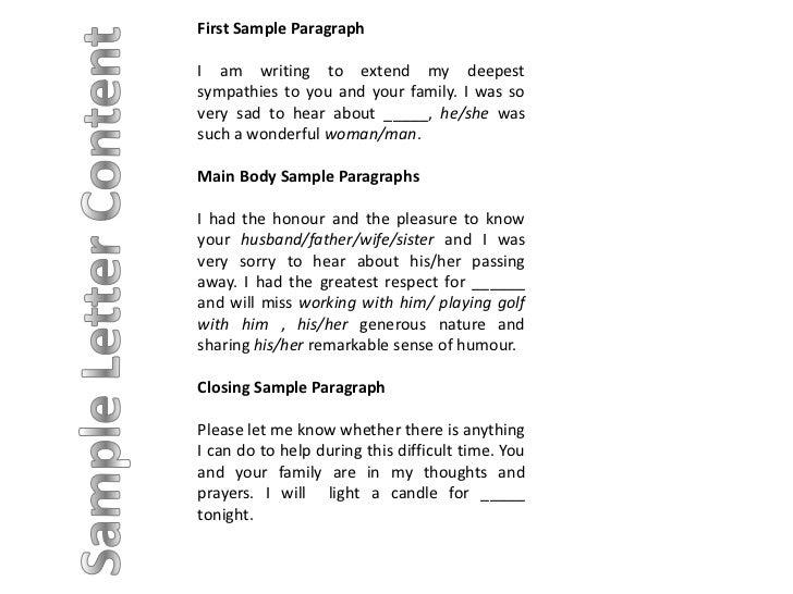 sample of sympathy letter