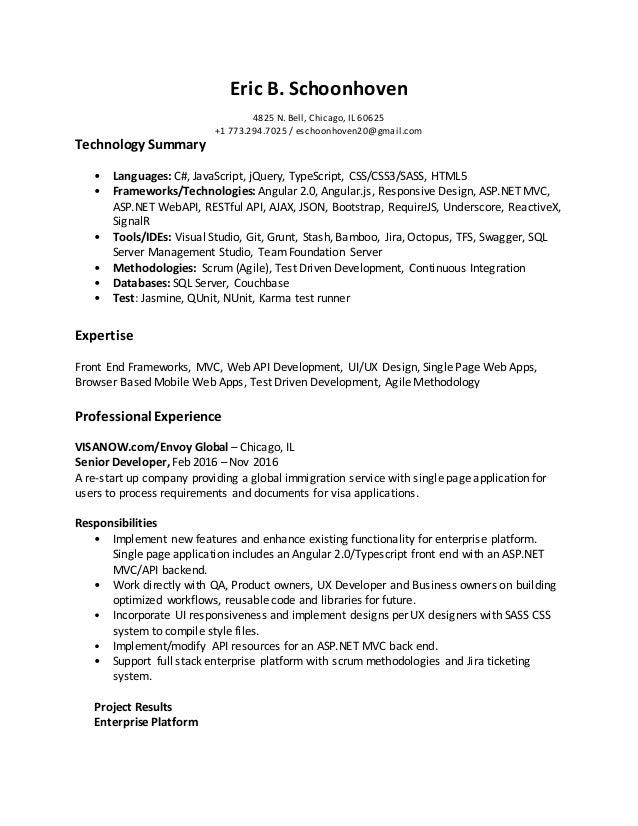 eric schoonhoven resume
