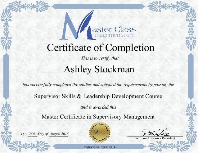 supervisory management certificate Security supervision and management program – certificate of completion security supervision and  international foundation for protection officers 1076 6th.