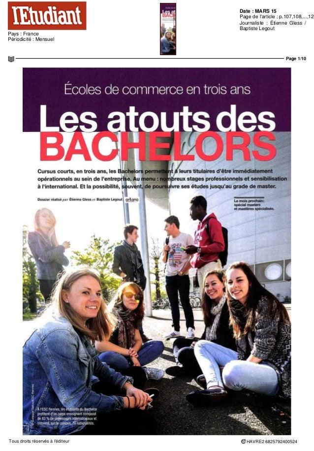 Date : MARS 15 Pays : France Périodicité : Mensuel Page de l'article : p.107,108,...,120 Journaliste : Étienne Gless / Bap...