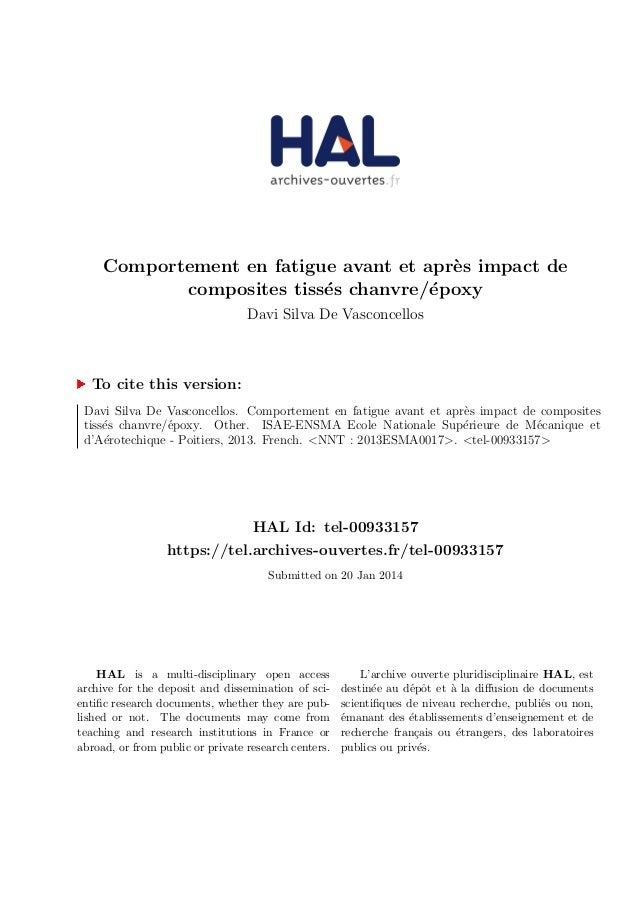 Comportement en fatigue avant et apr`es impact de composites tiss´es chanvre/´epoxy Davi Silva De Vasconcellos To cite thi...