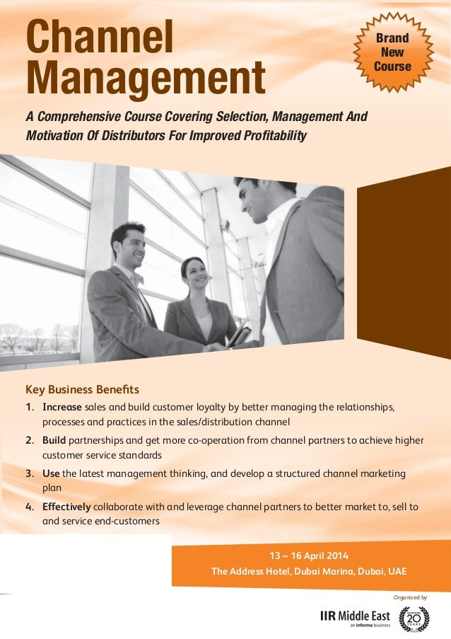 Channel Management  Brand New Course  A Comprehensive Course Covering Selection, Management And Motivation Of Distributors...