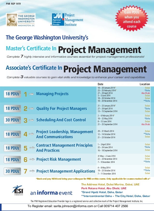 The George Washington Universitys Certificate In Project Management