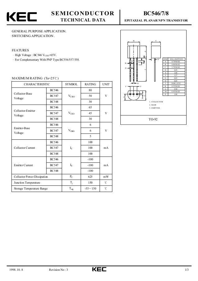 BC548 NPN BJT Datasheet