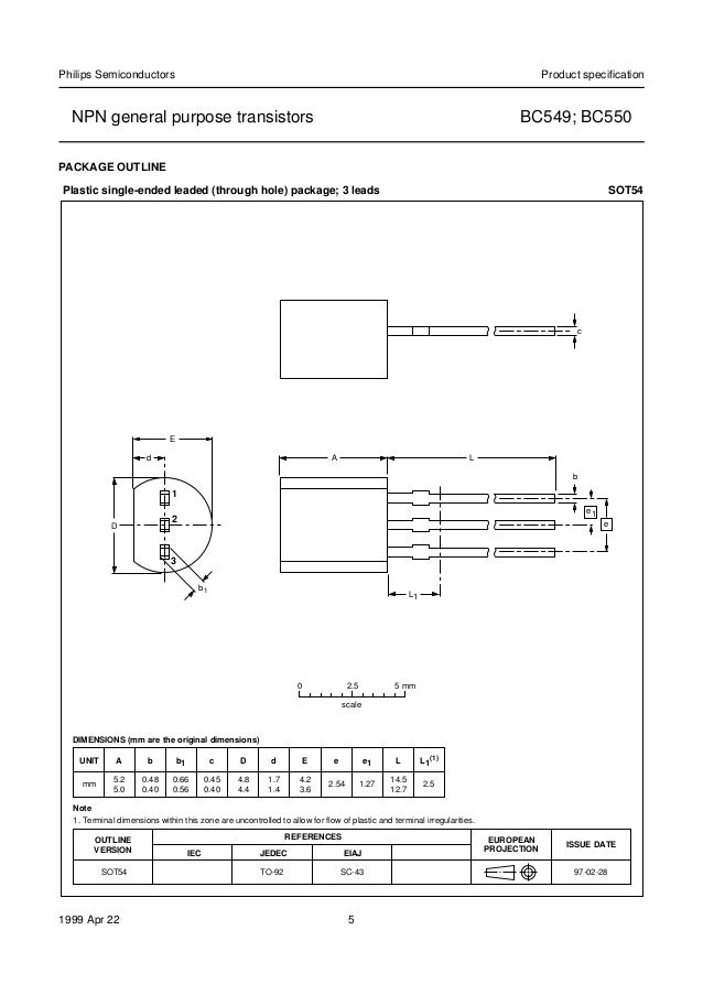 Bc549/Bc550 Transistor Data Sheet Of Philips