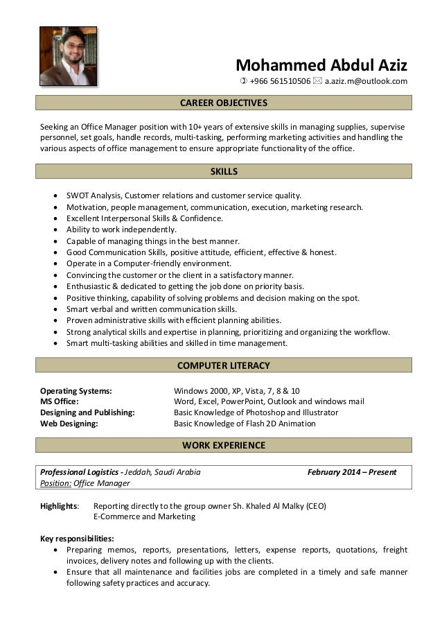 Aziz - Office Manager CV Revised