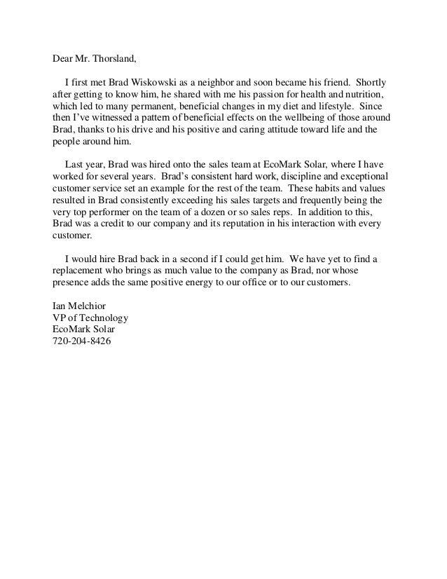 Recommendation Letter Num 2 For Bradley Wiskowski Fec