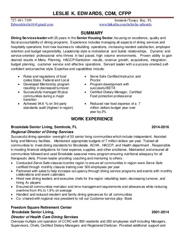 Certified dietary manager sample resume best of certified dietary