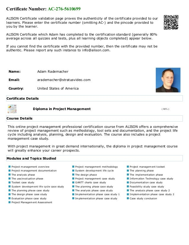 Alison Project Management Diploma Transcript November 2015 Adam Rad
