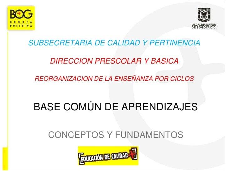 SUBSECRETARIA DE CALIDAD Y PERTINENCIADIRECCION PRESCOLAR Y BASICAREORGANIZACION DE LA ENSEÑANZA POR CICLOS<br />BASE COMÚ...