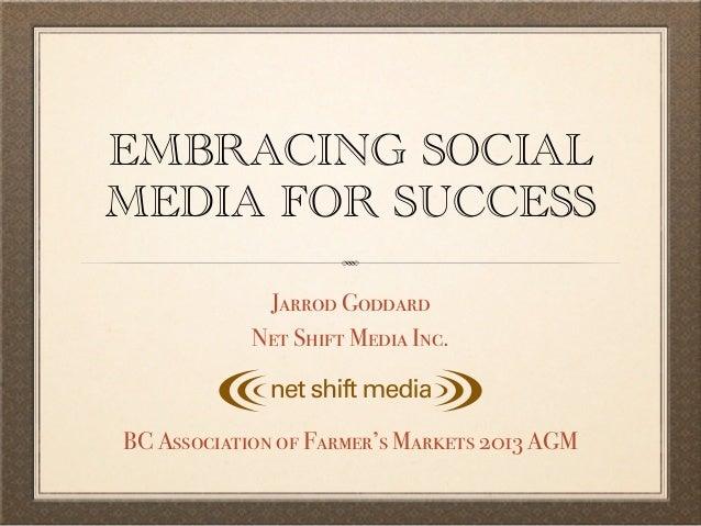 EMBRACING SOCIALMEDIA FOR SUCCESS             Jarrod Goddard            Net Shift Media Inc.BC Association of Farmer's Mar...