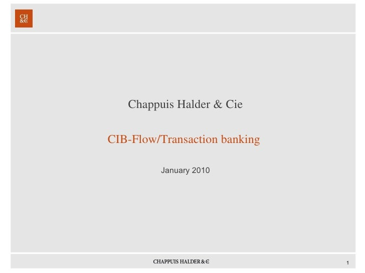 <ul><li>Chappuis Halder & Cie </li></ul><ul><li>CIB-Flow/Transaction banking  </li></ul><ul><li>January 2010 </li></ul>