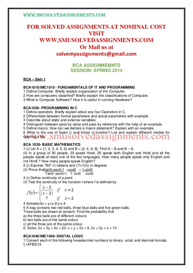 www.smusolvedassignments.com FOR SOLVED ASSIGNMENTS AT NOMINAL COST VISIT WWW.SMUSOLVEDASSIGNMENTS.COM Or Mail us at solve...
