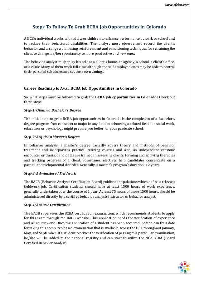 Bcba job opportunities in Colorado - CFCICO