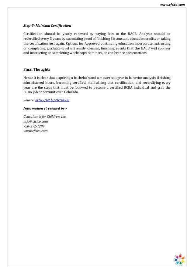 Bcba Job Opportunities In Colorado Cfcico