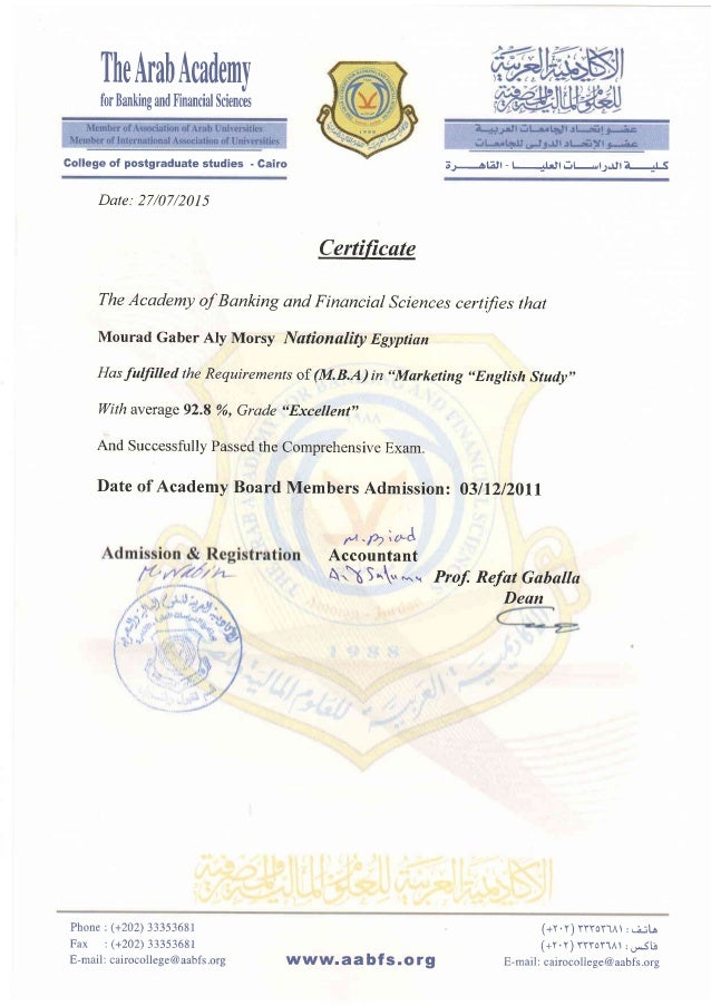 TheArabAcademy for Banking and linancial Sciences Date: 27/07/2015 Certic ' The Academy of Banking and Financial Sciences ...