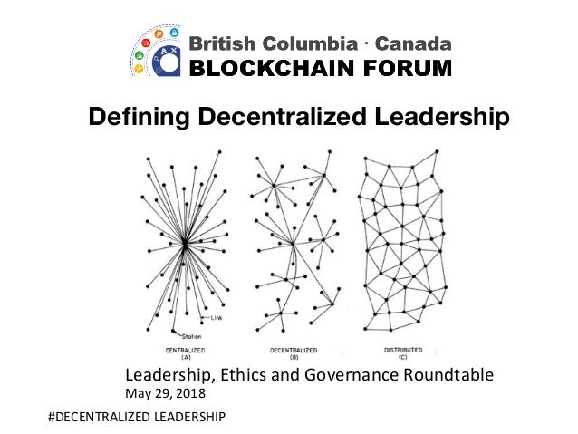 Defining Decentralized Leadership #DECENTRALIZED	LEADERSHIP	 Leadership,	Ethics	and	Governance	Roundtable	 May	29,	2018