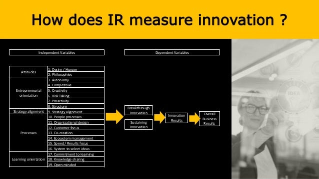 How does IR measure innovation ? Independent Variables Attitudes 1. Desire / Hunger 2. Philosophies Entrepreneurial orient...