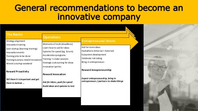 General recommendations to become an innovative company The Basics Strategy alignment Innovation training Lean startup (le...