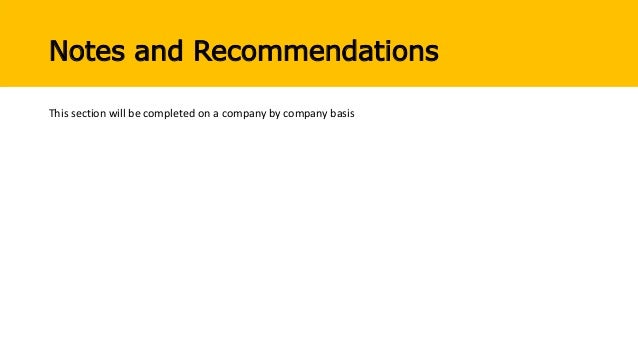Notes and Recommendations This section will be completed on a company by company basis