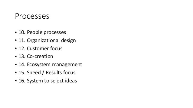 Processes • 10. People processes • 11. Organizational design • 12. Customer focus • 13. Co-creation • 14. Ecosystem manage...