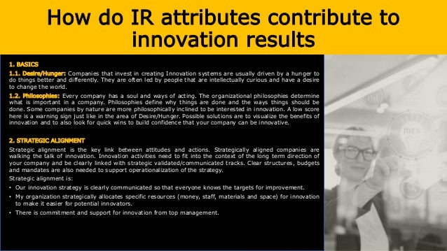 How do IR attributes contribute to innovation results 3. PROCESSES 3.1. People Processes: In every organization people are...