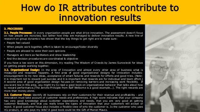 How do IR attributes contribute to innovation results 3.4. Co-creation : It is an active, creative and social process base...