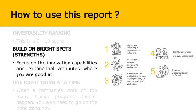 How to use this report ? INVESTABILITY RANKING • This is a 0 - 10 score BUILD ON BRIGHT SPOTS (STRENGTHS) • Focus on the i...