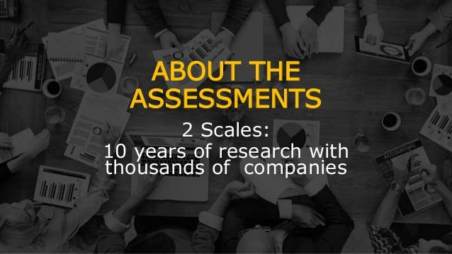 ABOUT THE ASSESSMENTS 2 Scales: 10 years of research with thousands of companies