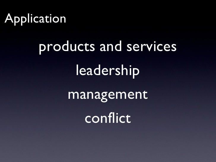 products and services leadership management conflict Application