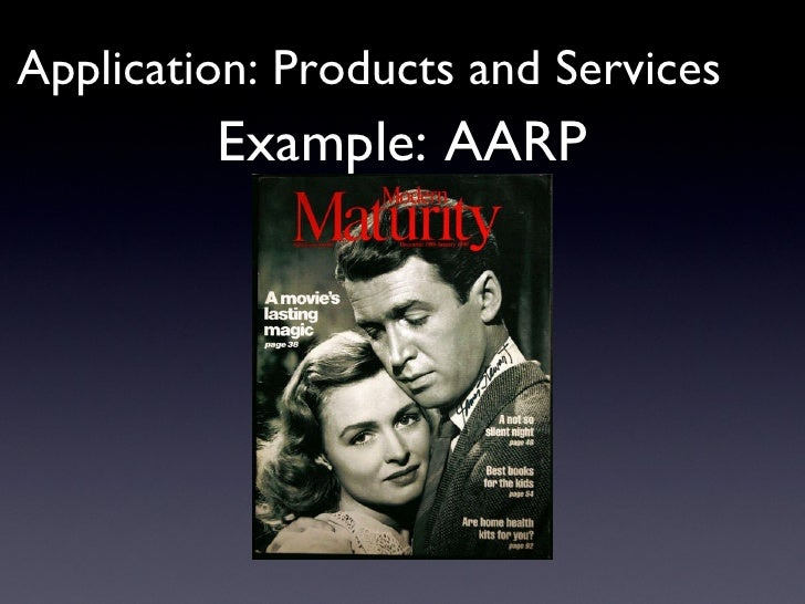 Example: AARP Application: Products and Services